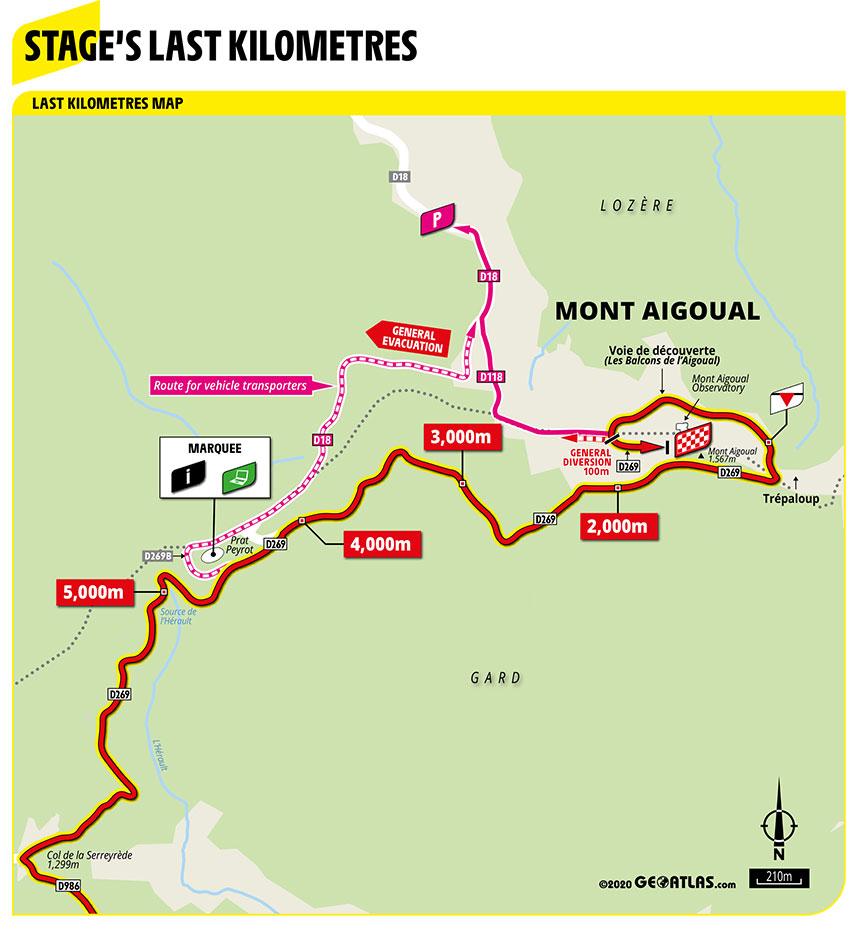 Ultimos kilómetros de la Etapa 6 del Tour de Francia 2020