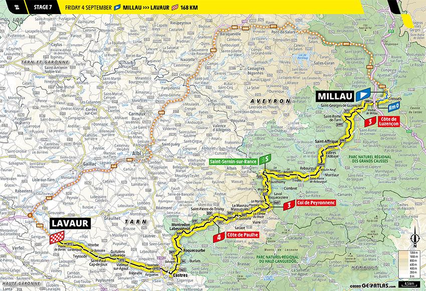 Tour de Francia 2020 - Recorrido de la Etapa 7