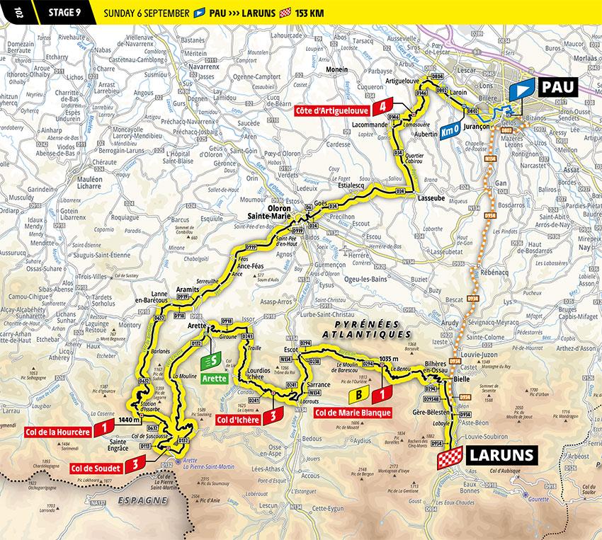 Tour de Francia 2020 - Recorrido de la Etapa 9