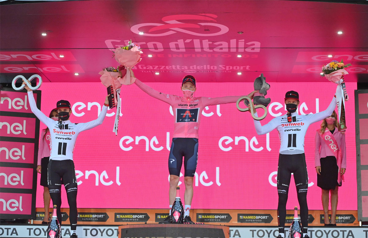 Pódium final del Giro de Italia 2020