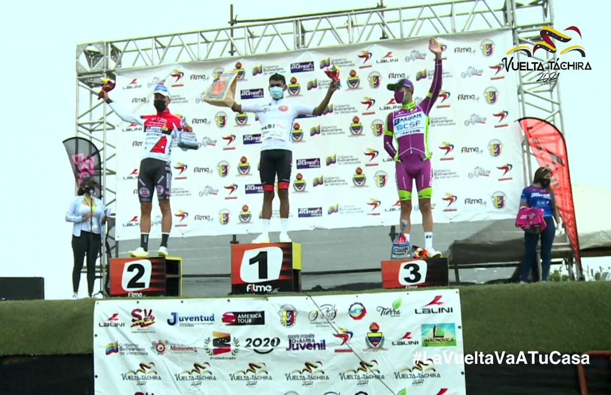 Pódium de la Etapa 6 de la Vuelta al Táchira 2021