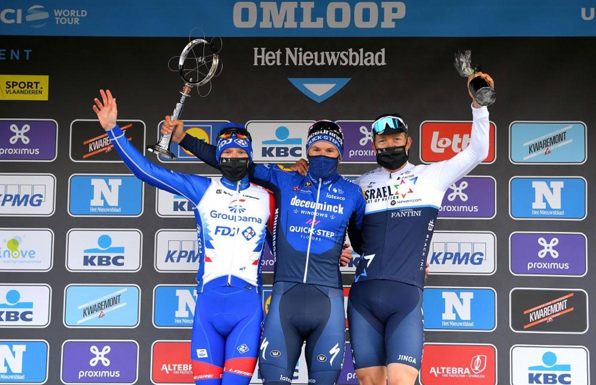 Pódium de la Omloop Het Nieuwsblad 2021