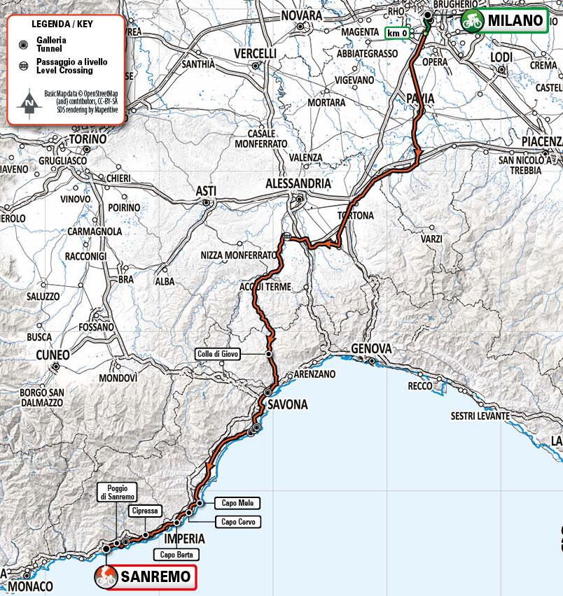 Recorrido de la Milán-San Remo 2021