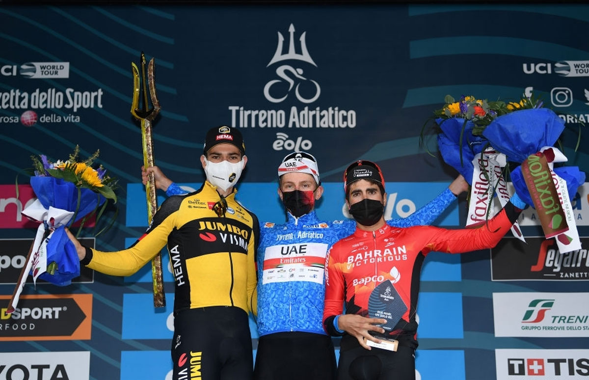 Pódium final de la Tirreno-Adriático 2021