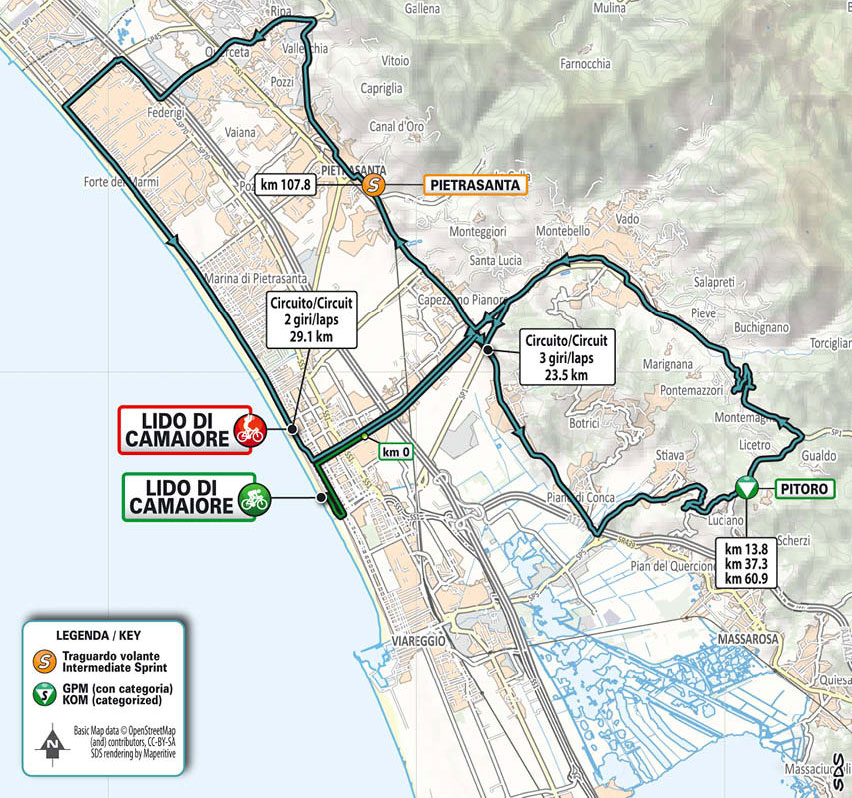Tirreno-Adriático 2021 (Etapa 1) Recorrido