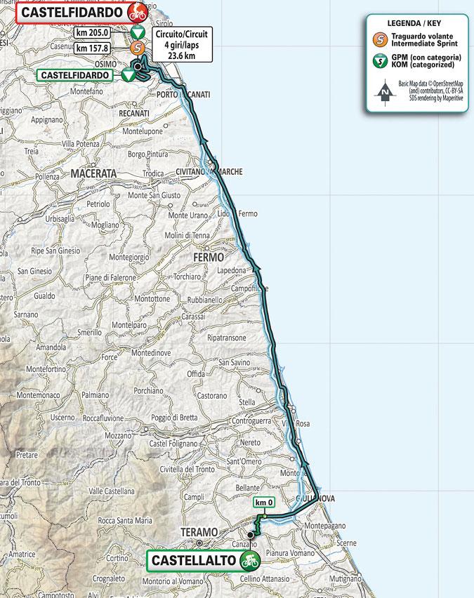 Tirreno-Adriático 2021 (Etapa 5) Recorrido