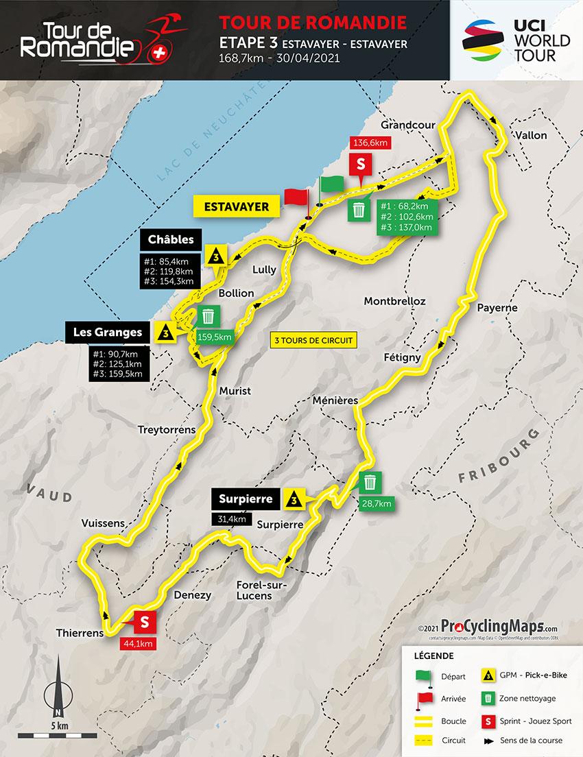 Tour de Romandía 2021 (Etapa 3) Recorrido