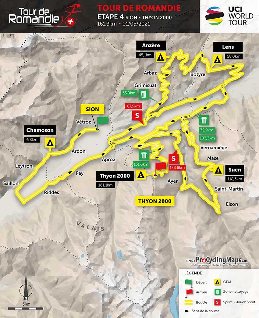 Tour de Romandía 2021 (Etapa 4) Recorrido