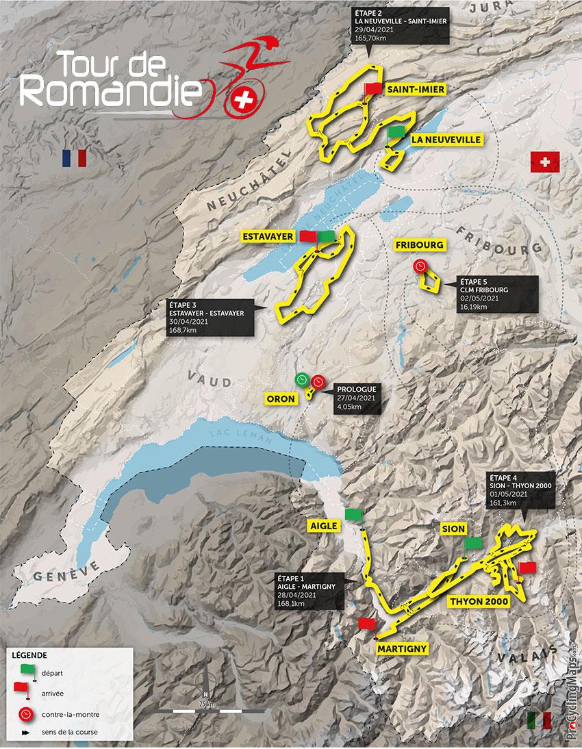 Tour de Romandía 2021 - Recorrido