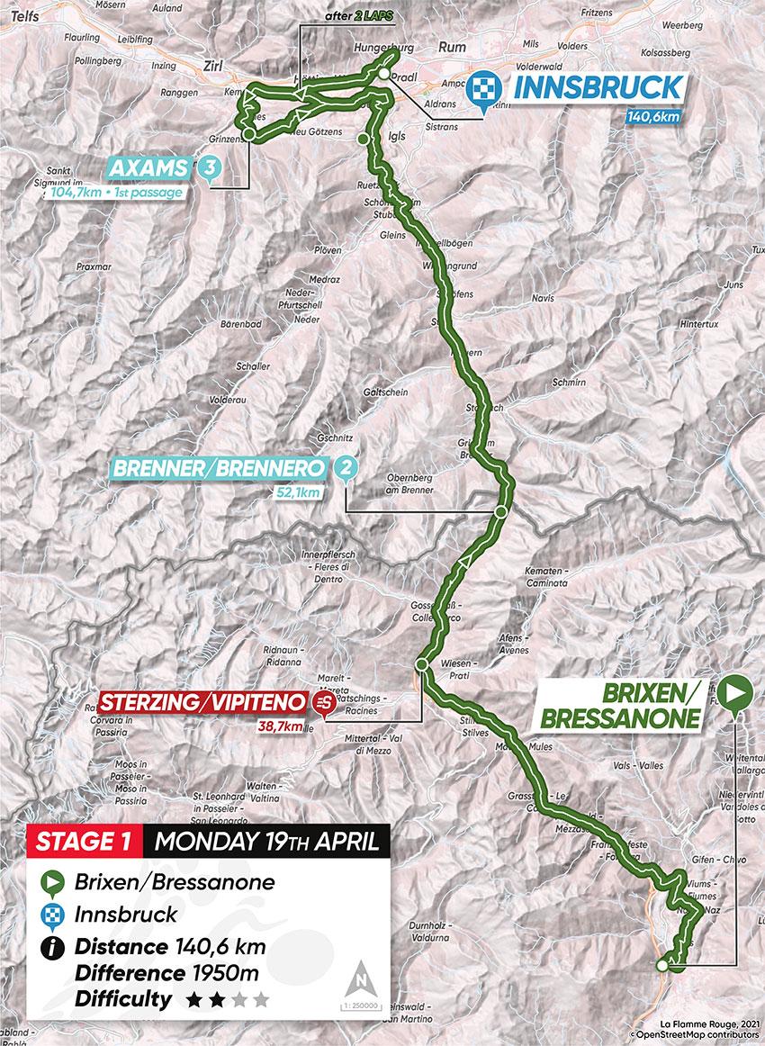 Tour de los Alpes 2021 (Etapa 1) Recorrido