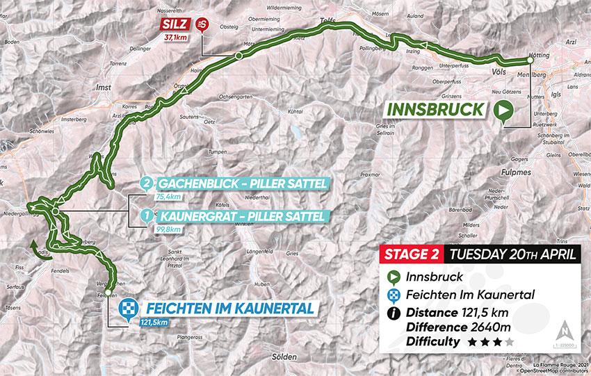 Tour de los Alpes 2021 (Etapa 2) Recorrido
