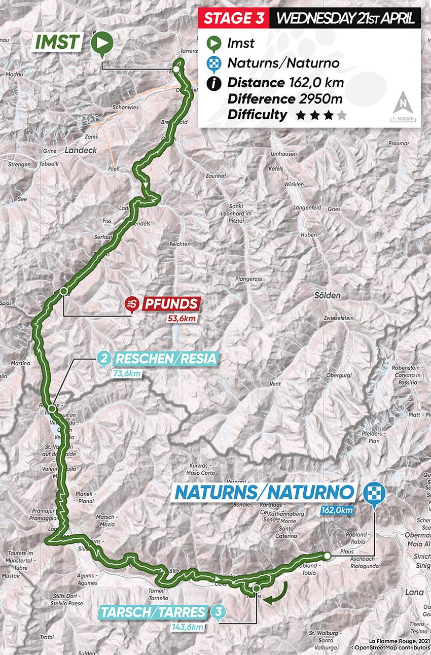 Tour de los Alpes 2021 (Etapa 3) Recorrido