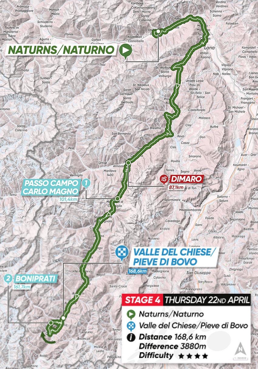 Tour de los Alpes 2021 (Etapa 4) Recorrido