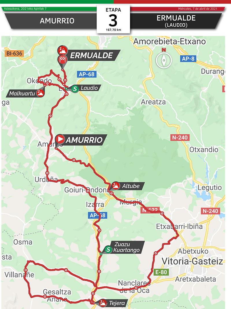 Vuelta al País Vasco 2021 (Etapa 3) Recorrido