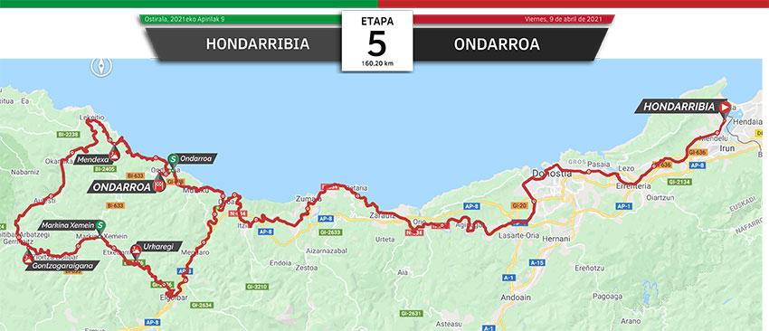 Vuelta al País Vasco 2021 (Etapa 5) Recorrido