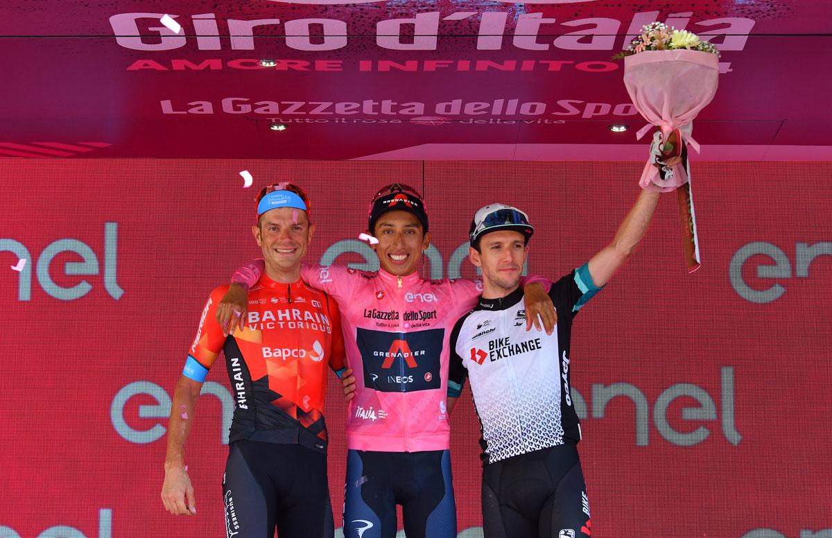 Pódium final del Giro de Italia 2021