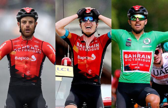 Damiano Caruso, Mark Padun y Sonny Colbrelli (Bahrain Victorious)
