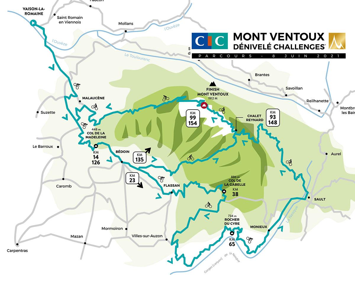 Recorrido del Mont Ventoux Dénivelé Challenge 2021