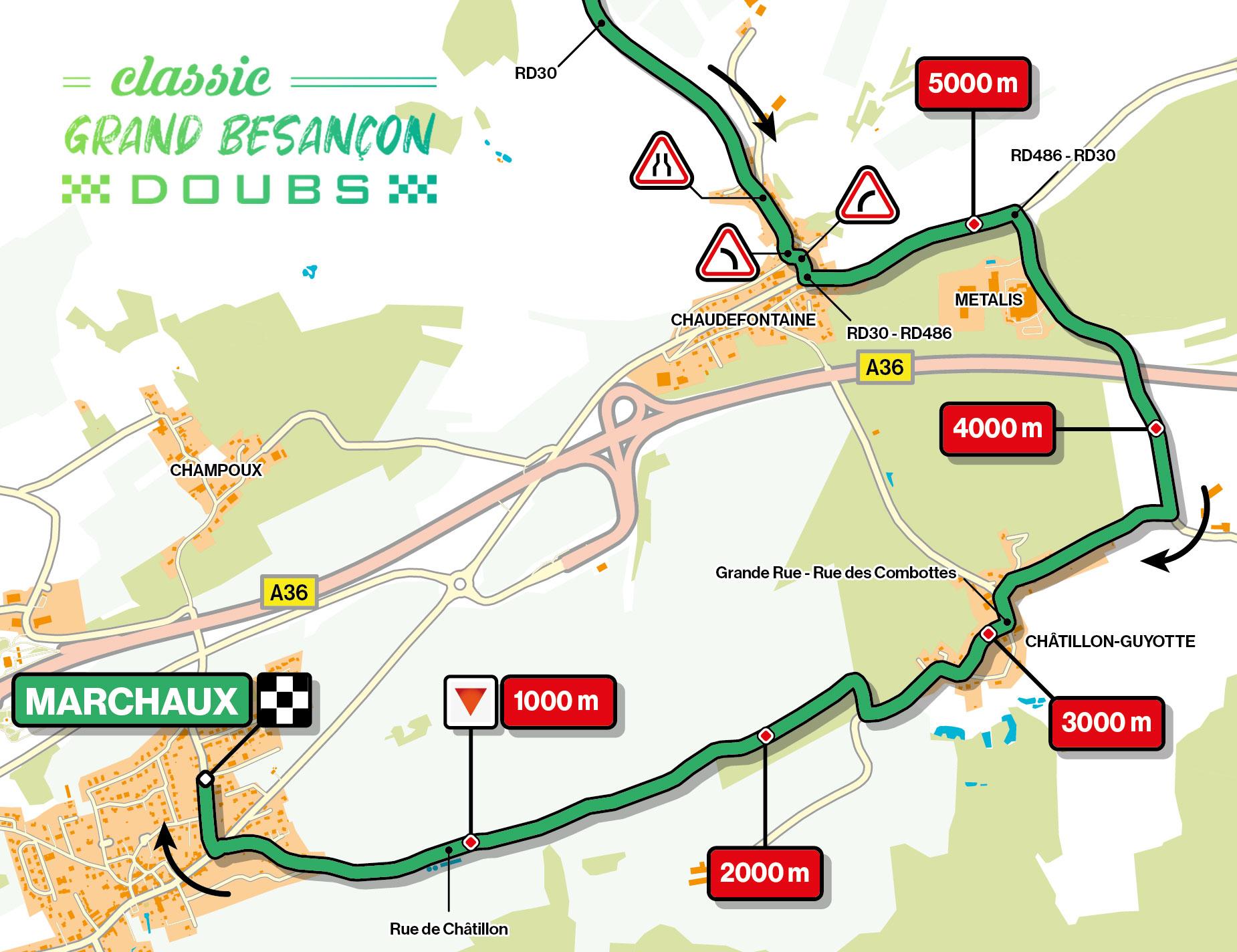 Recorrido de los Ultimos Kilómetros de la Classic Grand Besançon Doubs 2021