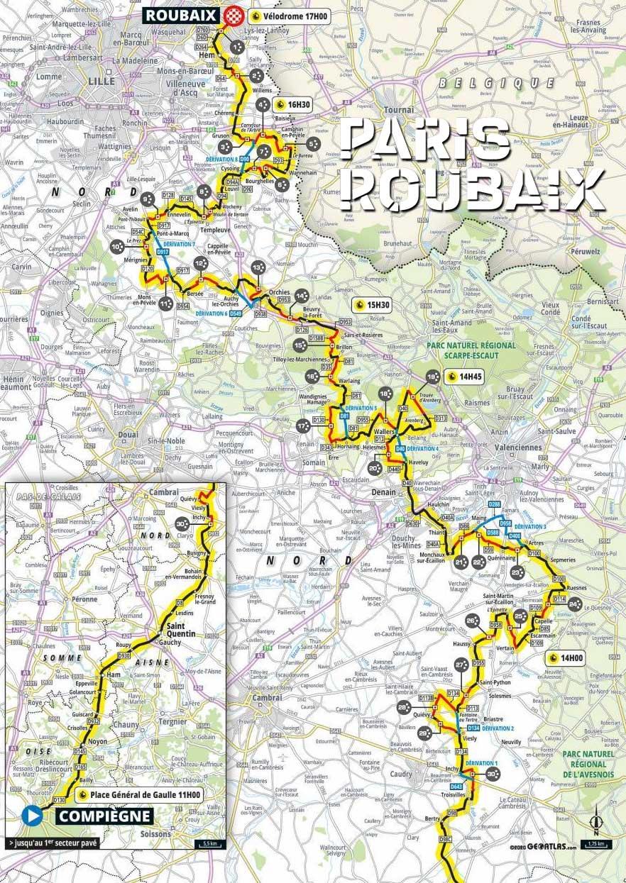 Recorrido de la Paris-Roubaix 2021